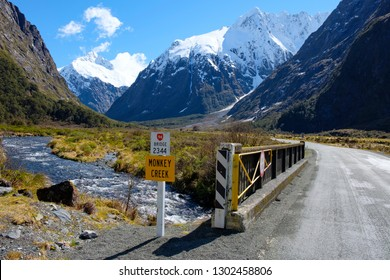 View of mountains from Monkey Creek, Fjordland, New Zealand