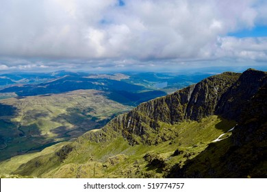 View of the mountains from near the top of Ben Lomond, Grampian Mountains, Scotland.