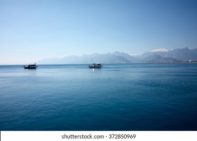 View of the mountains over the Antalya bay