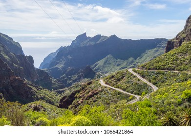 View of the mountains in the region of the village of Masca in the north west of 'island of Tenerife in SPAIN