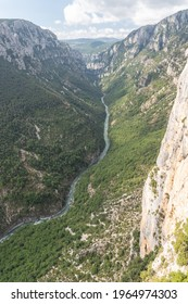 View of the mountains and the river of the verdon gorge in the south of France