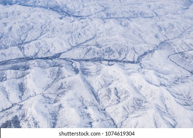 View of the mountains and rivers in the winter, Yakutia, Russia.