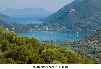 View from the mountains to the sea in Lefkas, Greece