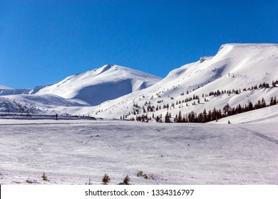 View of mountains and ski slope in winter mountains