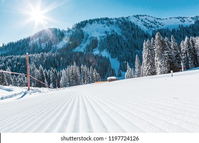 View of mountains and ski slopes in Austria