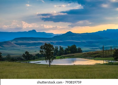view of the mountains and a small lake, Drakensberg, South Africa