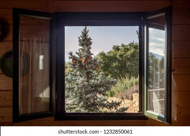 View of the mountains, spruce and forest through an open, wooden window on a sunny autumn day close-up
