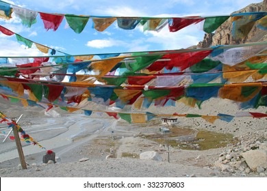 View of mountains with the sutra streamers from Everest Base Camp, Tibet