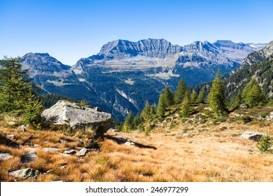 View of the mountains and valley on the hiking trail near Buffalora hut in ticino, Switzerland
