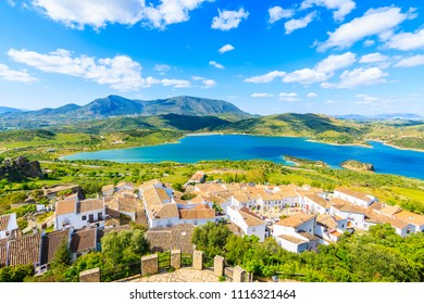 View of mountains and white houses in beautiful Zahara de la Sierra village, Andalusia, Spain