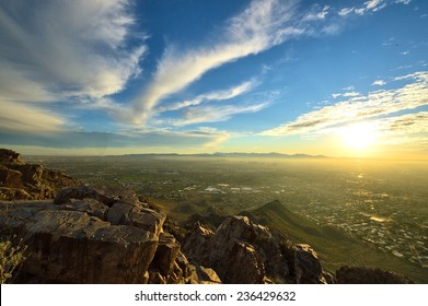 View from mountaintop of Phoenix, AZ at sunset