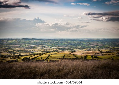 View from Mourne mountains into the fileds in sunset, Northern Ireland