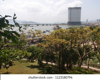 View of the mouth of the Kai River in the city of Nha Trang Vietnam