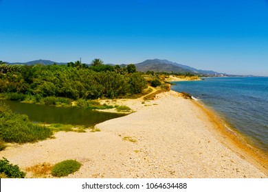 a view of the mouth of the Senia River between Alcanar and Vinaros, in Spain