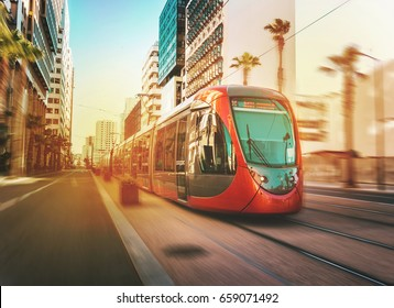 view of a moving tram in casablanca