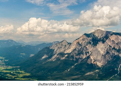 View from Mt. Dreilaendereck at the border of Austria, Italy and Slovenia  to the impressive Mt. Dobratsch being the dominant peak around and the neighboring Gail Valley
