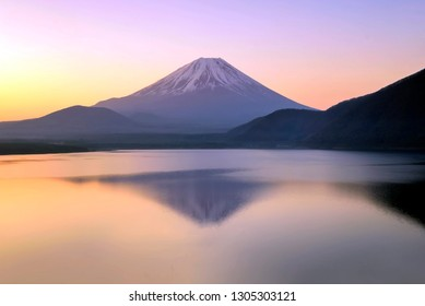 View of Mt. Fuji  at  Motosuko lake, Japan