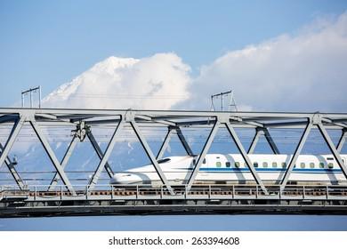 View of Mt. Fuji and Tokaido Shinkansen, Shizuoka, Japan