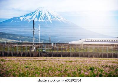 View of Mt Fuji and Tokaido Shinkansen, Shizuoka, Japan.