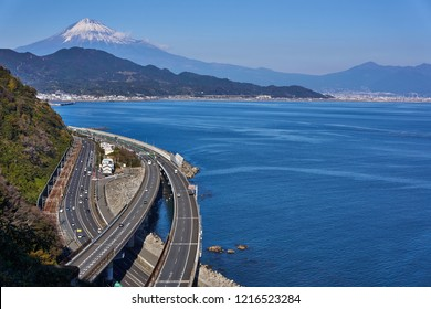 View of Mt. Fuji and Tomei Expressway from Satta Pass Scenery of Shizuoka prefecture