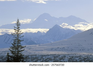 View of Mt. McKinley and Mt. Denali from George Park Highway, Route 3, Alaska