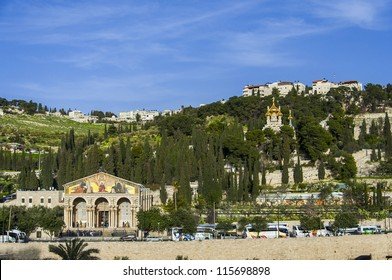 View of Mt. Olives with the Church of All Nations and Church of Mary Magdalene, view from the walls of Jerusalem