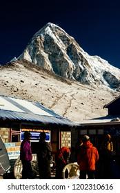 A view of Mt. Pumori from Gorak Shep village, Nepal