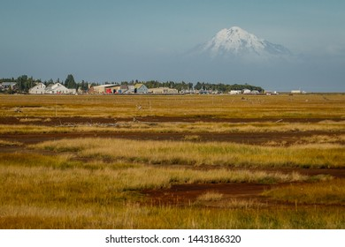 View of Mt. Redoubt volcano from town of Kenai, Alaska