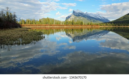 View at Mt Rundle on Vermilion Lake - Banff National Park, Alberta, Canada