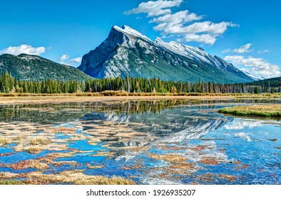 View of Mt. Rundle from Vermillion Lake in Banff National Park Canada