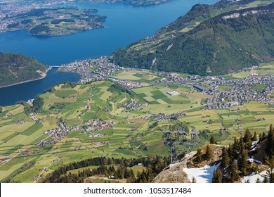 View from Mt. Stanserhorn in Switzerland at the beginning of May. The Stanserhorn is a mountain in the Swiss canton of Nidwalden, it is a popular tourist destination.