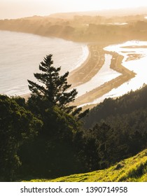 View from Mt. Tamalpais at sunset looking down at Stinson Beach.