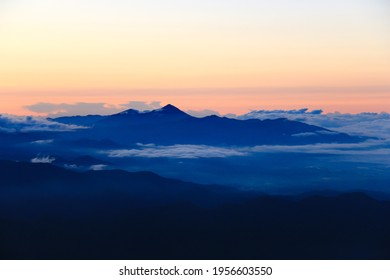 View of Mt.bandai from the summit of Mt.Iide ,Iide mountain range, yamagata prefecture,japan