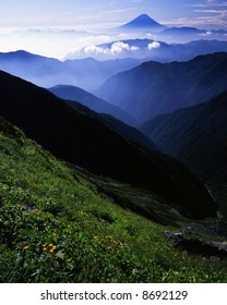 The view Mt,Fuji from far Japanese South Alps in summer