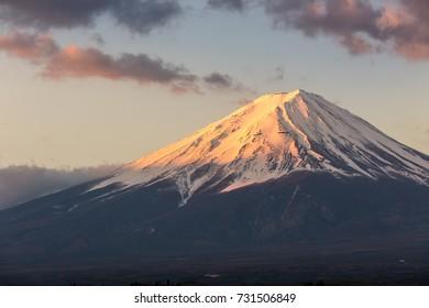 View of Mt.Fuji at sunrise from lake kawaguchiko yamanishi Japan