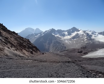 View of mudflows in the mountains. Location: Slope of Mount Elbrus