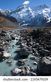 a view of Mueller Lake along the Hooker Valley Track, New Zealand