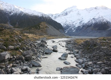 view of Mueller Lake and Hooker river in Hooker Valley Trail, a famous hiking trail in Aoraki Mount Cook, New Zealand