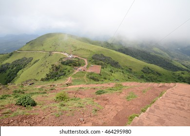 View from Mullayanagiri which is the highest peak in Karnataka, India and is located in Chikkamagaluru. With a height of 6330 ft, it is the highest peak between the Himalayas and the Nilgiris.