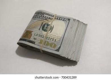 View of multiple 100 (one hundred) dollar bills