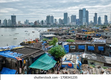 View of Mumbai skyline with skyscrapers over slums in Bandra suburb. Mumbai, Maharashtra, India