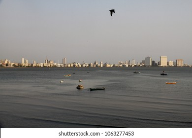 View of Mumbai's Skyline from Malabar Hill in Mumbai, Maharashtra, India