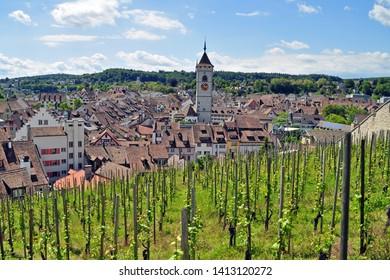 view from Munot hill on old town of Schaffhausen, switzerland