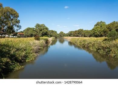 View of Murrumbidgee River at Narrandera, New South Wales, Australia.