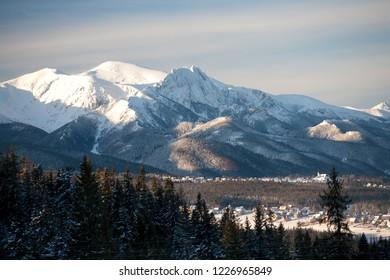 view to Murzasichle, Zakopane, Giewont Mountain and the Tatra Mountains, Tatra National Park, Poland