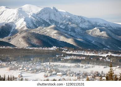 view to Murzasichle, Zakopane, Giewont Mountain, Tatra Mountains, Tatra National Park, Poland