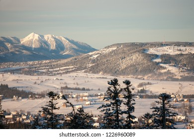 view to Murzasichle, Zakopane, Gubalowka Mountain and the Tatra Mountains, Tatra National Park, Poland