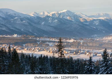 view to Murzasichle, Zakopane and the Tatra Mountains, Tatra National Park, Poland