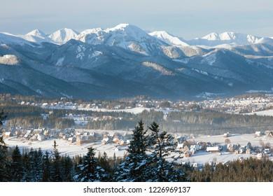 view to Murzasichle, Zakopane, and the Tatra Mountains, Tatra National Park, Poland
