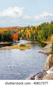 View of the Muskoka River near Bracebridge (Ontario, North) from the top of High Falls.
